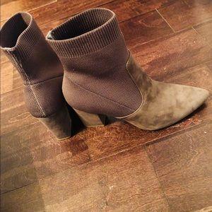Womens Remy Suede Block Heel Sock Boot